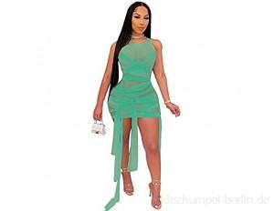 JQAM Damen Frühlings- und Sommerkleider ärmellose Bodycon-Riemen Hohe Stretch-Nachtclub Sexy Mesh Kleid (Color : Light Green Size : Large)