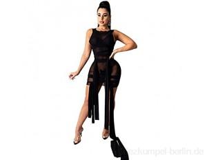 JQAM Damen Frühlings- und Sommerkleider ärmellose Bodycon-Riemen Hohe Stretch-Nachtclub Sexy Mesh Kleid (Color : Black Size : X-Large)