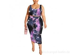 LIXILI Sexy Plus Größe 2 Stück Kleid Sets Floral Druck Ärmelloser Engen Ocker Anzug Für Frauen C 3XL