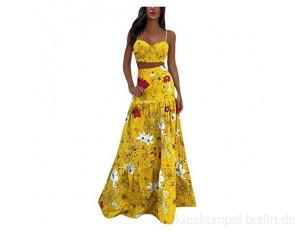 Qigxihkh Damen Bohemian Sexy Brustgurt Split Digitaldruck Kleid