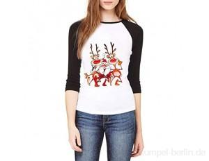 Adamoka Weihnachten Damen Bluse Rot Rentier Muster Xmas Kurzarm T-Shirt Populär Christmas Shirt Weihnachten Tops