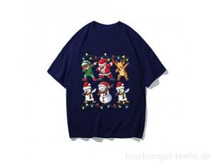 Adamoka Weihnachten Damen Tops Süß Tanzen Weihnachtsmann Schneemann Rentier Muster Xmas Kurze Ärmel Shirt Christmas Bluse Tops