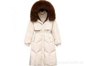 YUTRD Winter Enten Daunenjacke Damen Kapuze Langen Mantel Taille abnehmen einfache Daunenjacke (Size : X-Large)