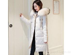 YUTRD Winterjacke Frauen Daunenjacke Frauen Lange schlanke einfarbige Damenjacke Reißverschluss Daunenjacke (Color : B Size : Large)