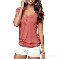Damen Bluse Oberteile Kurzarm Tshirt Sommer Sexy v-Ausschnitt Casual Shirt Oversize Eleganter Shirt Hemd Damen V-Neck Einfarbig T-Shirt Oberteile Hemdbluse Shirt Mit Gummizug Am Saum