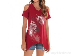 Schulterfreies Oberteil Damen T Shirt V Ausschnitte Off Shoulder Kurzarm Shirt Frauen Drucken Tops Bluse Sommer Longshirt