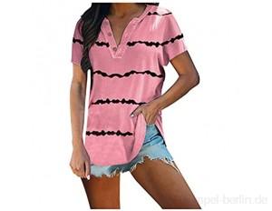 OKEYsoe Damen Gestreiftes T-Shirt Kurzarm Tunika Tops LäSsige Kurzarm Bluse Trendy Pullover ÜBergroßEs Langes Shirt Sommer Comfty Shirts…