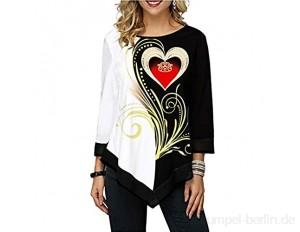 ZJMIYJ Damen Langarmshirt 3D-Druck Blumen T-Shirt Frauen O-Neck Streetwear Unregelmäßige Lose T-Shirts Plus Size Tops