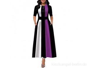 CiKiXZ Damen Abendkleid Gestreift Business Kleid A-Linie Ballkleid 1/2 Ärmel Cocktailkleid Party Festliches Abschlusskleid