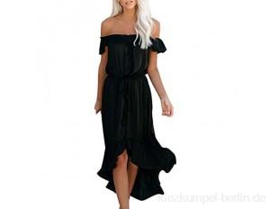 Fhuuly Sommerkleid Damen Schulterfrei Partykleid Sexy Lang Frauen Rüsche Irregulär Maxi Strandkleid Plus Größe