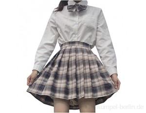 Damen Mini-Faltenrock kariert Frauen Mädchen Kurze hohe Taille gefaltete Skater Tennis Schule Rock Plaid JK Faltenrock A-Version Blendfreier Rock mit hoher Taille und kurzem Rock