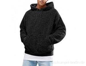 Frestepvie Herren Fleece Kapuzenpullover Winter Plüsch Hoodie Warm Dicker Sweatshirt Teddy-Fleece Mit Taschen