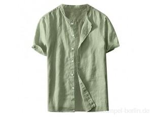 Celucke Leinenhemd Herren Kurzarm Henley Shirt Einfarbig Leinen Sommerhemden Männer Freizeithemd Sommer Strand Hemden Leichte Atmungsaktives Bequem