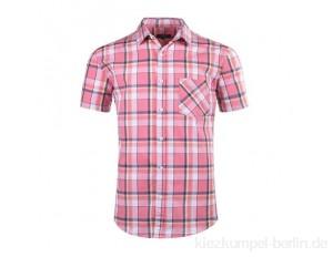 SOOPO Herren Kurzarm Hemden aus 100% Baumwolle Comfort Fit Freizeithemd Kariertes Männerhemd (L, C-Rosa)