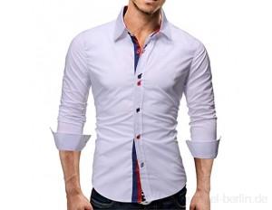 SUCES Herren-Hemd Slim-Fit, Langarm-Hemden Unifarben, Langarmshirt für Anzug Freizeit Business Hochzeit Button-Down Langarm Freizeithemd mit Stehkragen